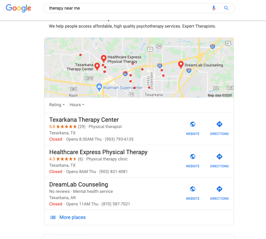 Texarkana-Therapy-Center-SEO-Google-Search